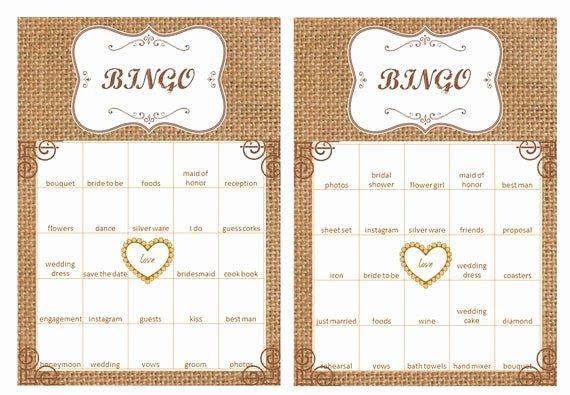 Bridal Shower Bingo Template Fresh 40 Bridal Shower Bingo Cards Prefilled with Bridal Shower