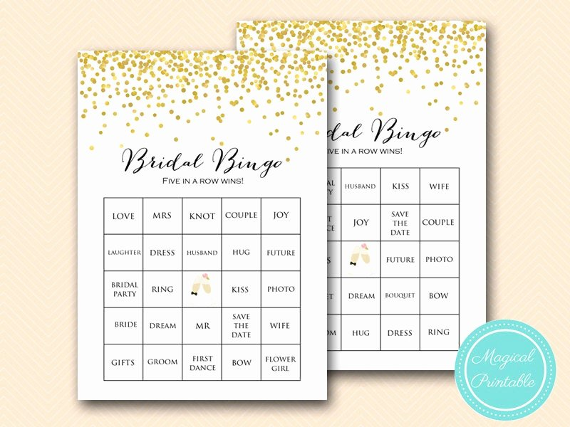 Bridal Shower Bingo Template Fresh Prefilled Gold Bridal Shower Bingo Cards Bridal Words Bingo