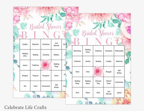 Bridal Shower Bingo Template Inspirational 100 Bridal Bingo Cards Floral Bridal Shower Bingo Game