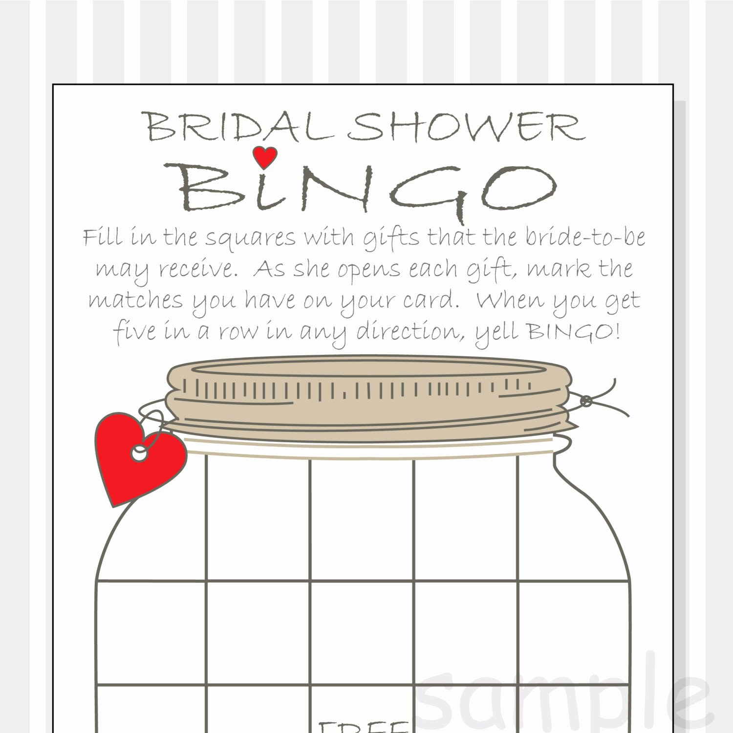 Bridal Shower Bingo Template Inspirational Bridal Shower Bingo Printable Cards Gift Bingo Rustic