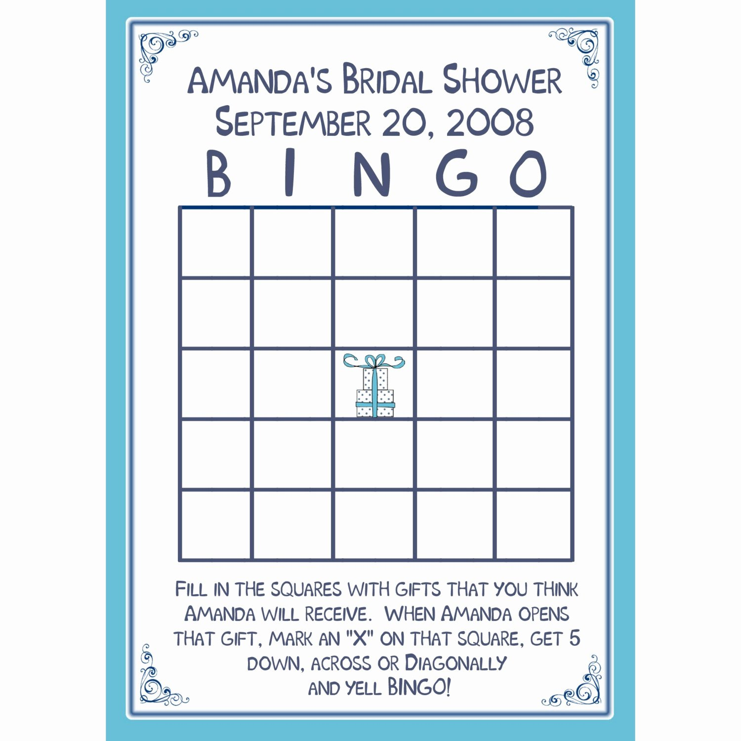 Bridal Shower Bingo Template Lovely 24 Bridal Shower Bingo Card Game Personalized