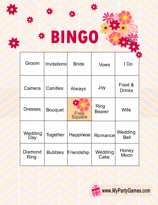 Bridal Shower Bingo Template Unique Free Printable Bridal Shower Bingo Game Cards