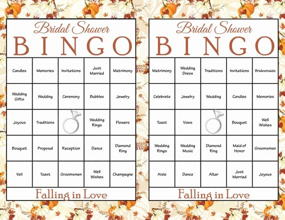 Bridal Shower Bingo Templates Awesome 100 Falling In Love Bridal Bingo Cards Fall Bridal Shower
