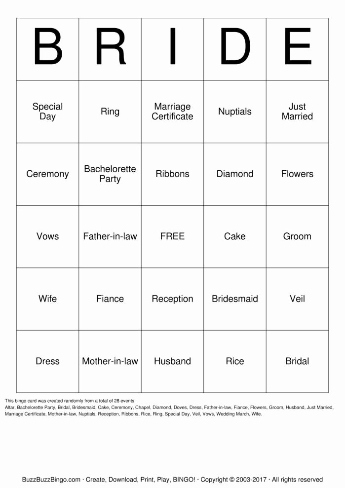 Bridal Shower Bingo Templates Beautiful Bridal Shower Bingo Cards to Download Print and Customize