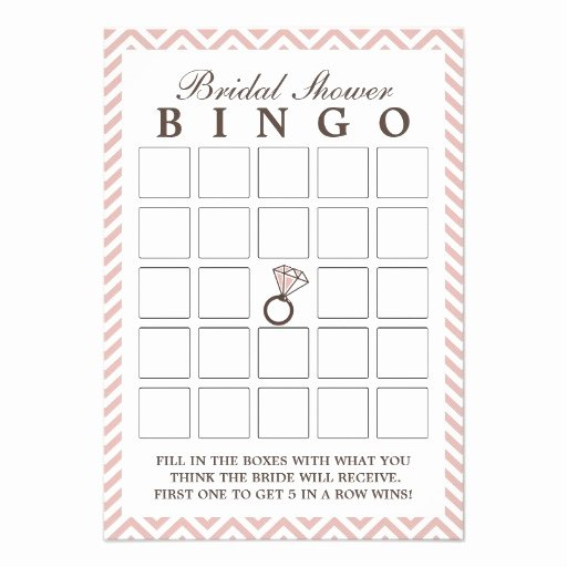 "Bridal Shower Bingo Templates Beautiful Diamond Ring Pink Zigzag Bridal Shower Bingo Cards 3 5"" X"