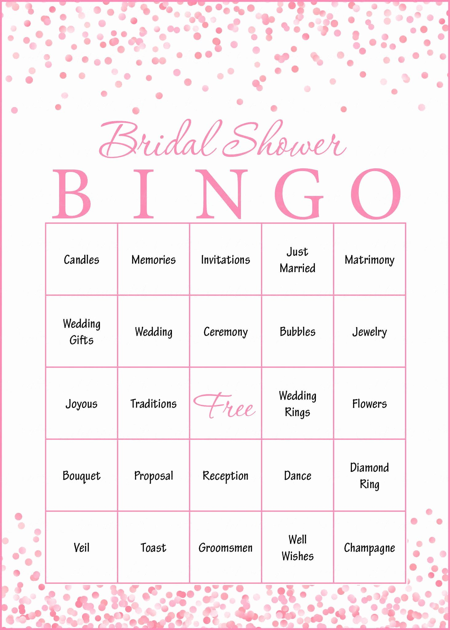Bridal Shower Bingo Templates Best Of Pink Confetti Bridal Shower Game Download for Wedding