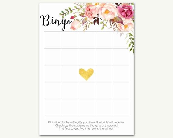 Bridal Shower Bingo Templates Fresh Bridal Shower Bingo Bingo Game Floral Bingo Bingo Cards