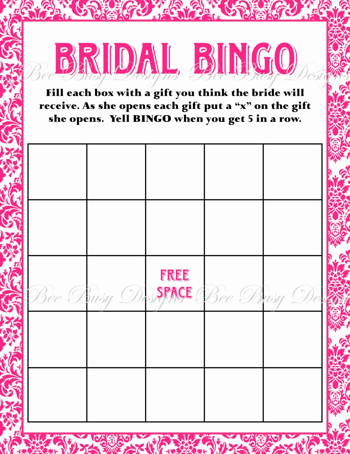 Bridal Shower Bingo Templates Inspirational Bridal Bingo Template