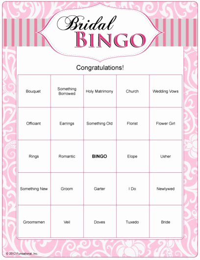 Bridal Shower Bingo Templates Unique Bridal Bingo Template