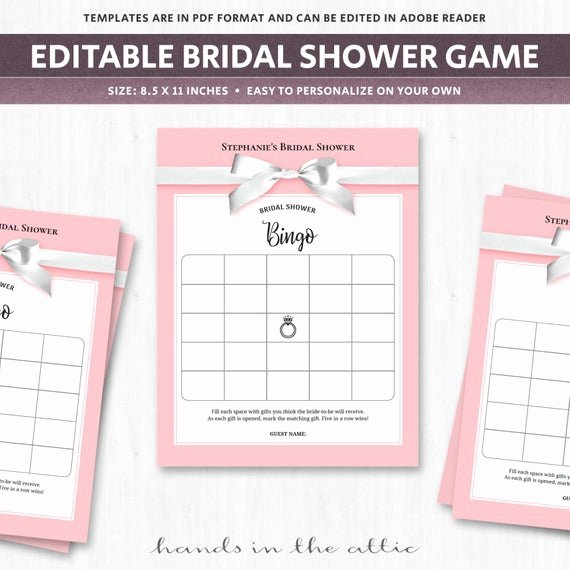 Bridal Shower Bingo Templates Unique Wedding Shower Bingo Board Blank Bingo Cards Bridal