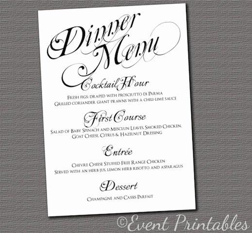 Bridal Shower Menu Template Beautiful 6 Best Of Free Printable Dinner Menu Cards Dinner