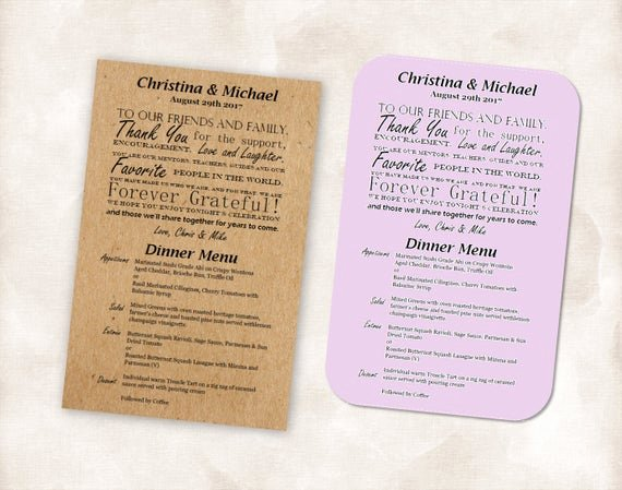 Bridal Shower Menu Template Beautiful Template Menu Thank You Cards Printable Bridal Shower