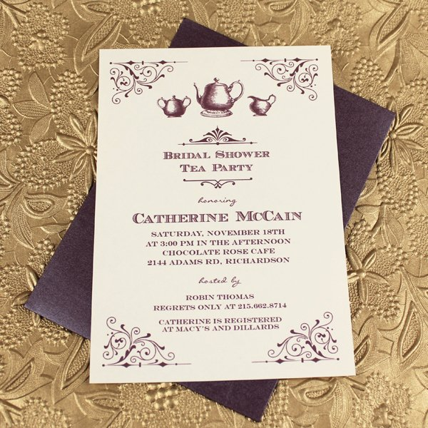 Bridal Shower Menu Template Beautiful Vintage Bridal Shower Tea Party Invitation Template
