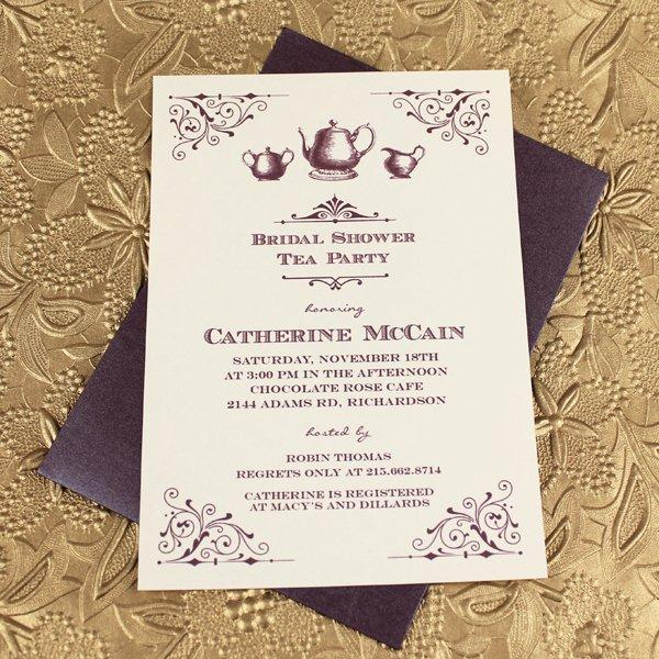 Bridal Shower Menu Template Beautiful Vintage Bridal Shower Tea Party Invitation Template