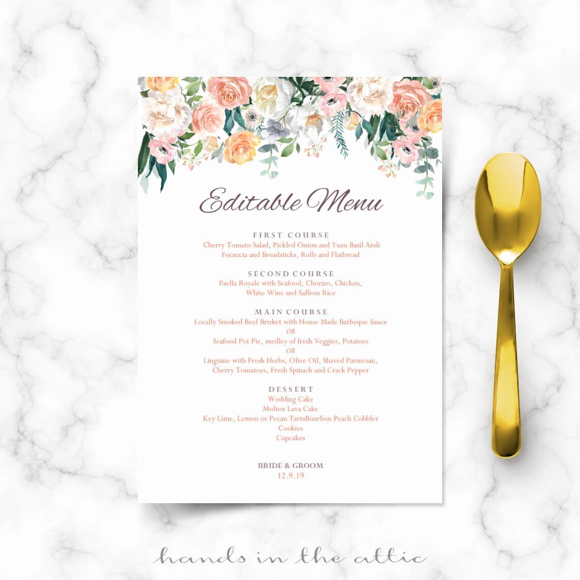 Bridal Shower Menu Template Best Of Secret Garden Vintage Flowers Menu Template