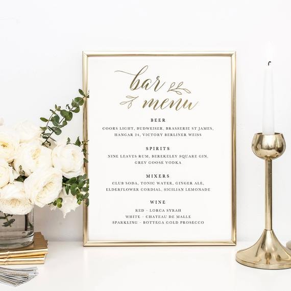 Bridal Shower Menu Template Best Of Wedding Bar Menu Template Drink Sign Printable Bar Menu