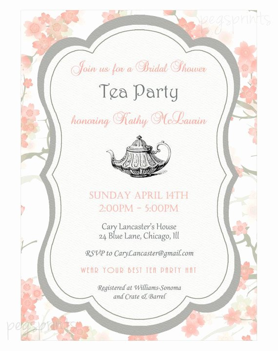 Bridal Shower Menu Template Elegant Bridal Shower High Tea Invitation Printable by Pegsprints