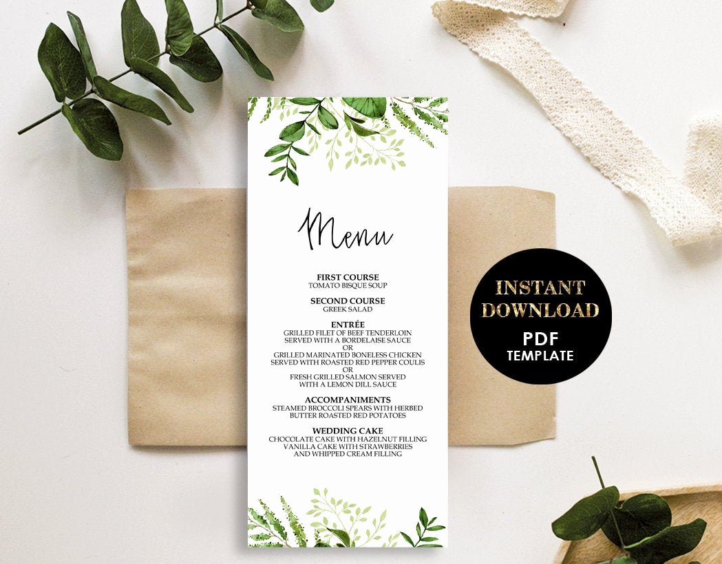 Bridal Shower Menu Template Elegant Greenery Wedding Menu Printable Template Bridal Shower