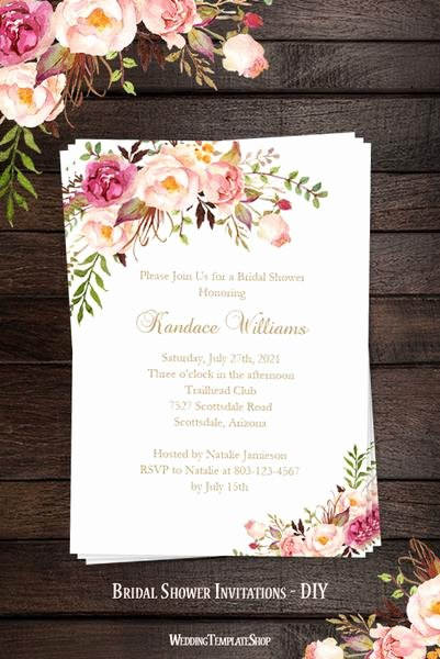 Bridal Shower Menu Template Fresh Bridal Shower Invitation Template Romantic Blossoms