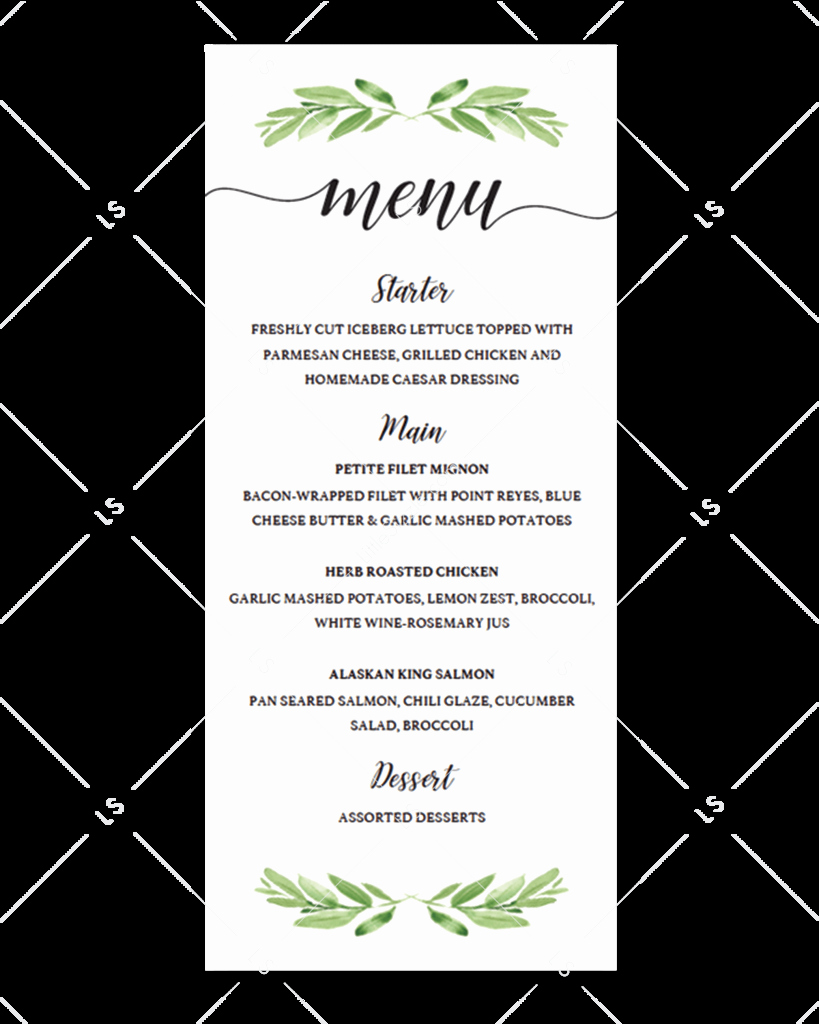 Bridal Shower Menu Template Inspirational Greenery Baby Shower Invitation Templates and Printable