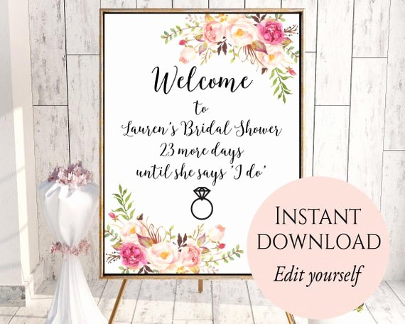 Bridal Shower Menu Template Lovely Wel E Sign Template Wel E Bridal Shower Sign Bridal
