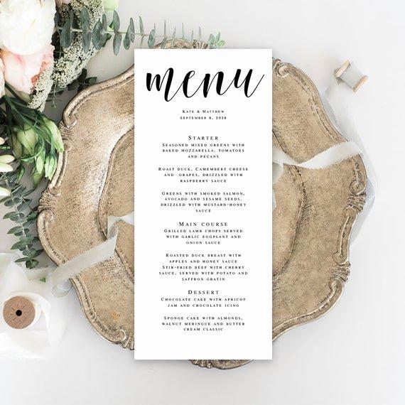Bridal Shower Menu Template New Menu Card Template Wedding Template Bridal Shower Menu Wedding