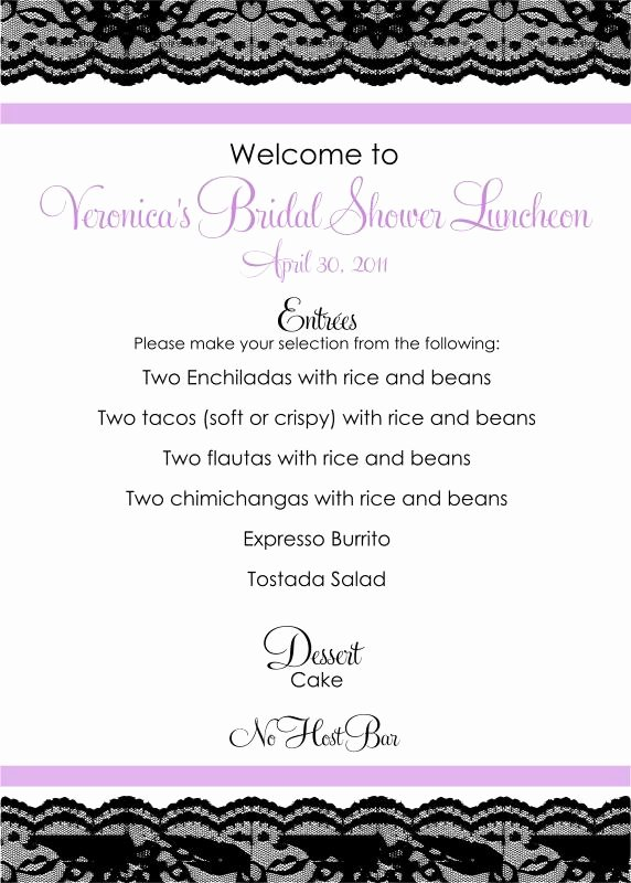 Bridal Shower Menu Template Unique Bridal Shower Menu