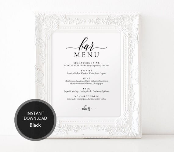 Bridal Shower Menu Template Unique Pdf Template Bar Menu 8x10 11x14 16x20 Wedding Bridal