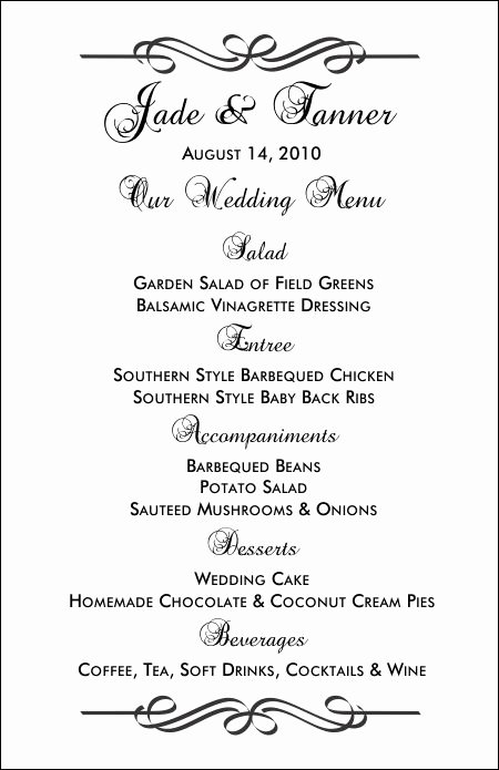 Bridal Shower Menu Template Unique Wedding Menu Templates