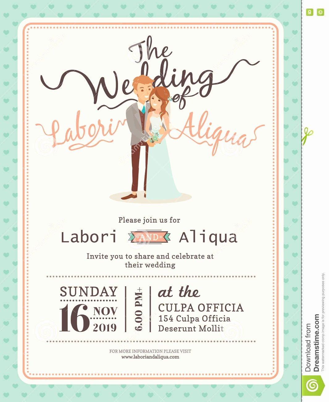 Bridesmaid Card Template Awesome Wedding Couple Groom and Bride Cartoon Wedding Card