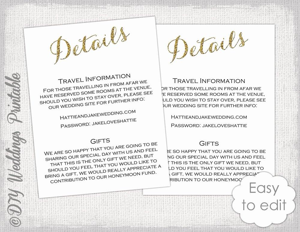 Bridesmaid Card Template Beautiful Wedding Enclosure Template Diy Calligraphy Gold