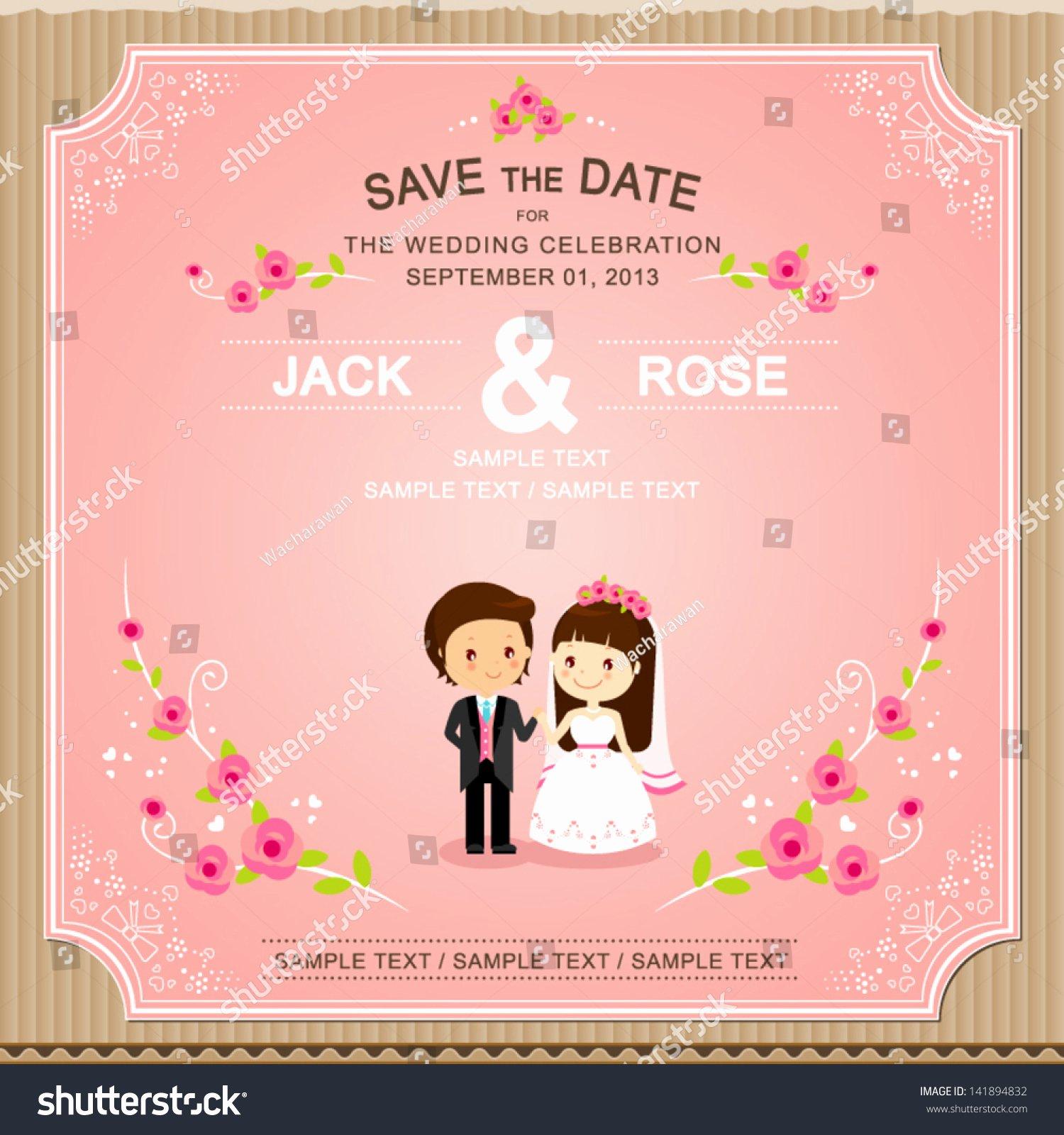 Bridesmaid Card Template Elegant Cute Pink Rose Wedding Invitation Card Stock Vector