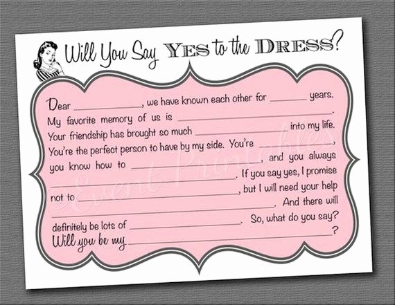 Bridesmaid Card Template Elegant Diy Printable Will You Be My Bridesmaid Cards by