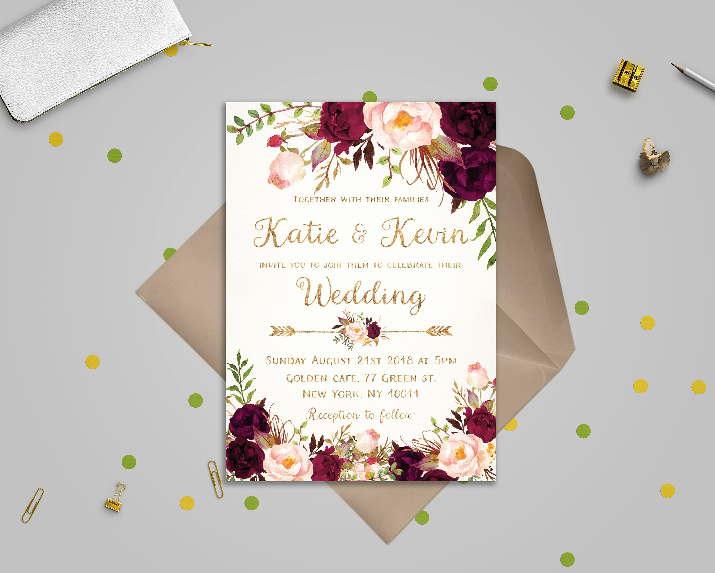 Bridesmaid Card Template Fresh Floral Wedding Invitation Template Wedding Invitation