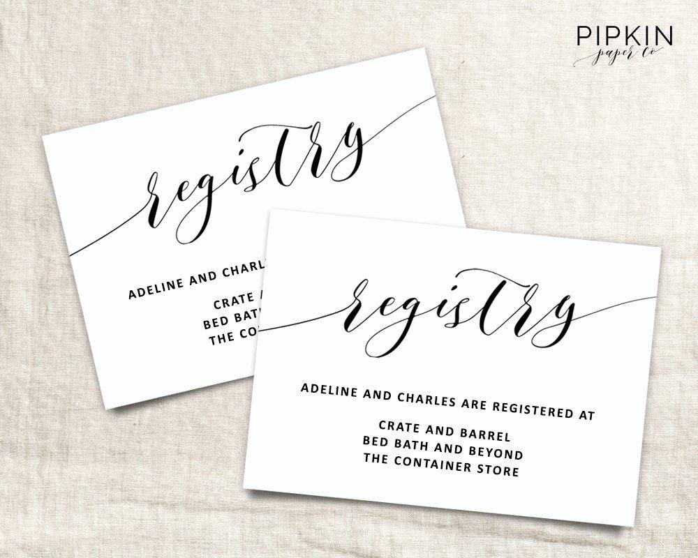 Bridesmaid Card Template Fresh Printable Wedding Registry Card Wedding Info Card Template