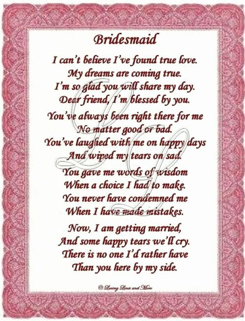 Bridesmaid Proposal Letter Beautiful Thankyou Poem to Bridesmaid Graduation