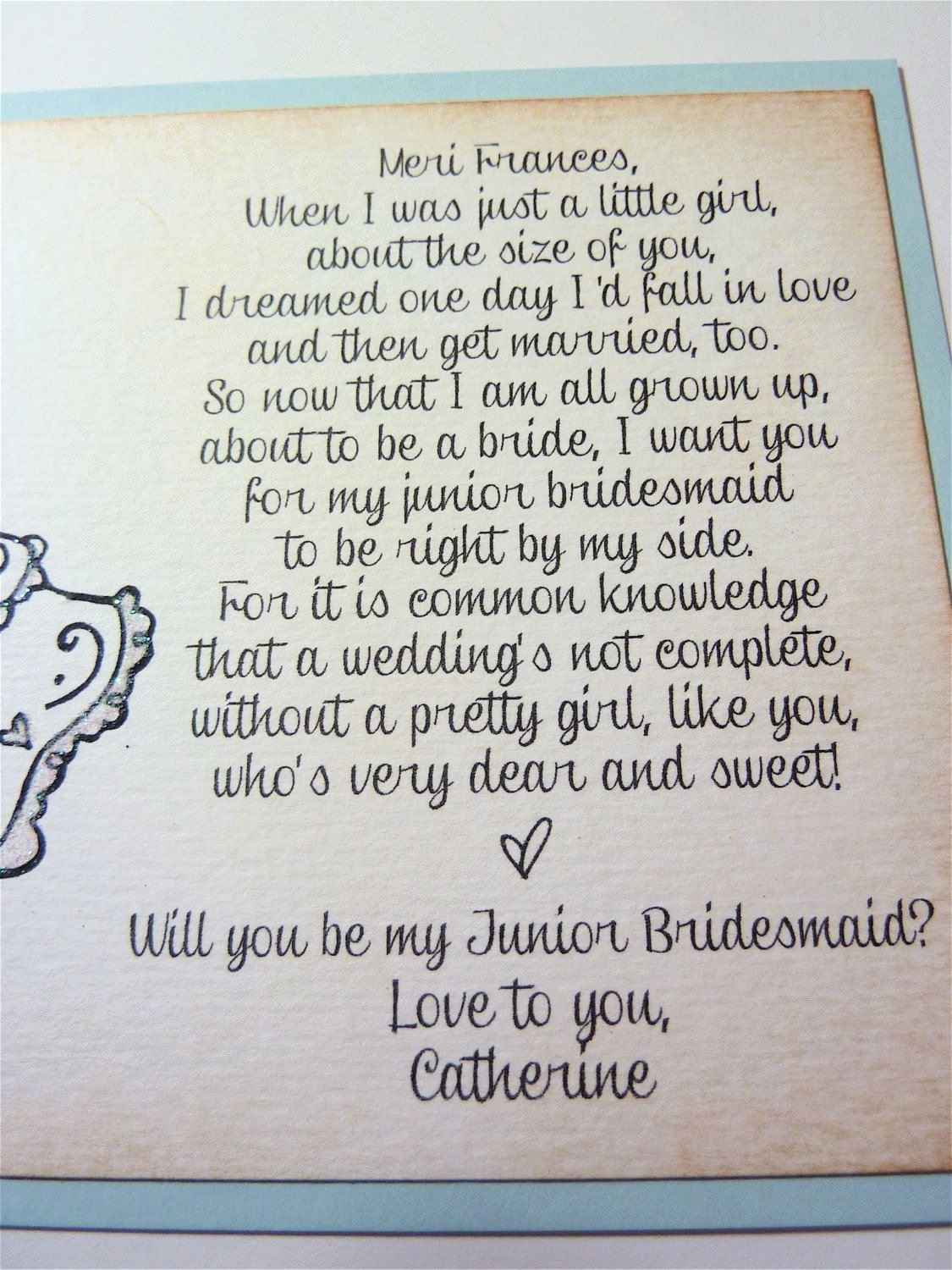 Bridesmaid Proposal Letter Fresh Will You Be My Junior Bridesmaid Invitation Personalized