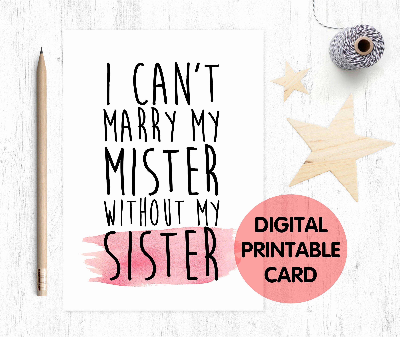 Bridesmaid Proposal Letter Inspirational Printable Bridesmaid Card Will You Be My Bridesmaid