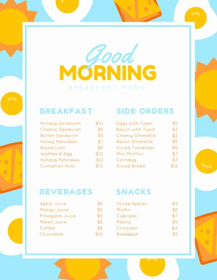 Brunch Menu Templates Beautiful Blue Yellow Illustrated Egg Breakfast Menu Templates by