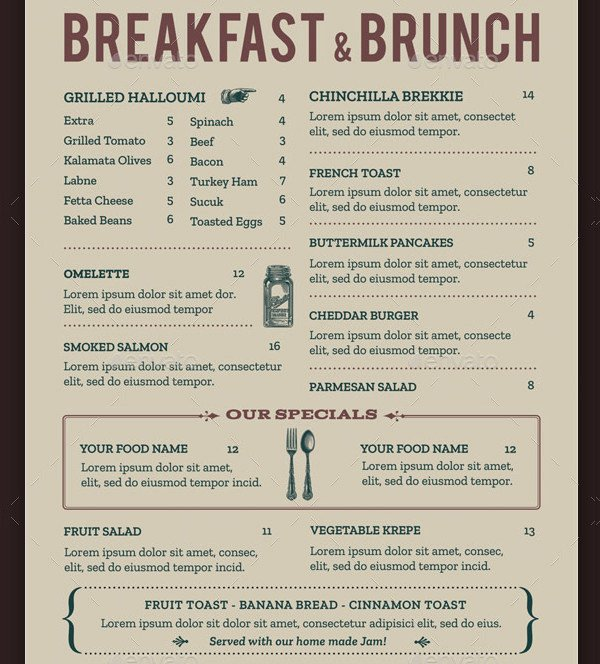Brunch Menu Templates Beautiful Brunch Menu Template 21 Free & Premium Designs Download