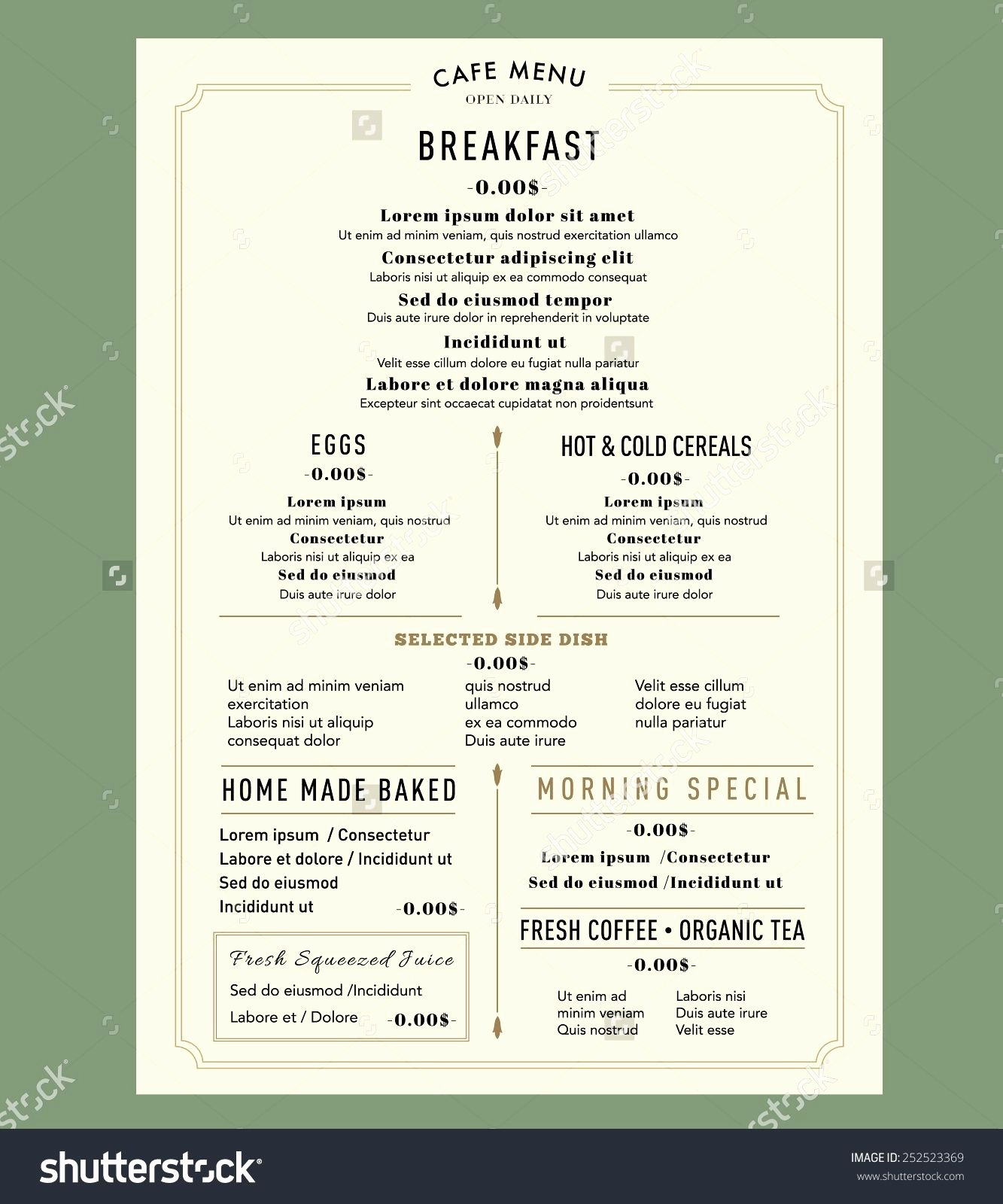 Brunch Menu Templates Fresh Menu Design for Breakfast Restaurant Cafe Graphic Design