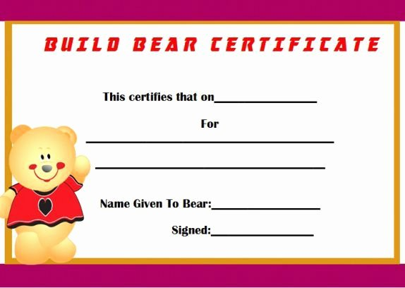 Build A Bear Birth Certificate Template Blank Best Of Build A Bear Certificate Template Birth Choice Image