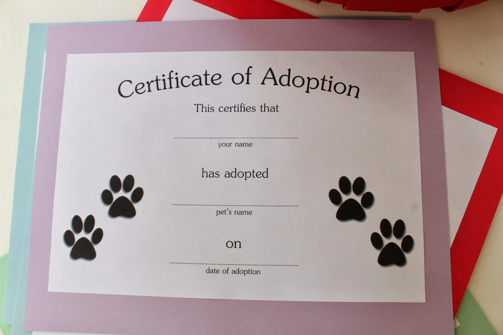 Build A Bear Birth Certificate Template Blank New Adoption Certificate for Cake Ideas and Designs