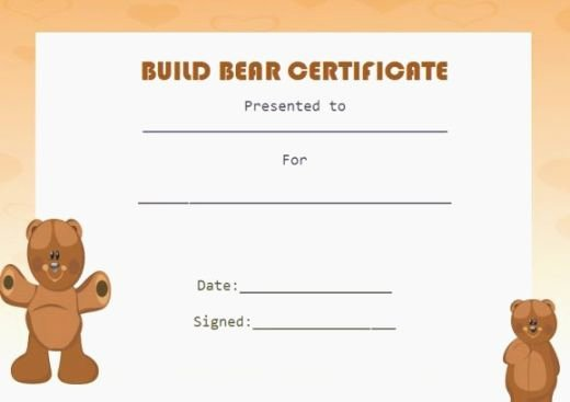 Build A Bear Birth Certificate Template Blank New top 37 Unusual Printable Build A Bear Certificate