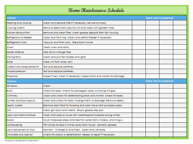 Building Maintenance Schedule Beautiful 11 Great Schedules to Keep You organized