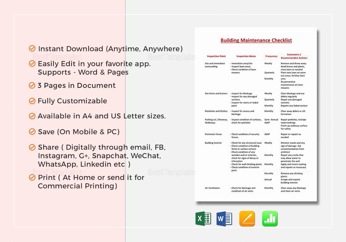 Building Maintenance Schedule Template Best Of Building Maintenance Checklist Template In Word Excel