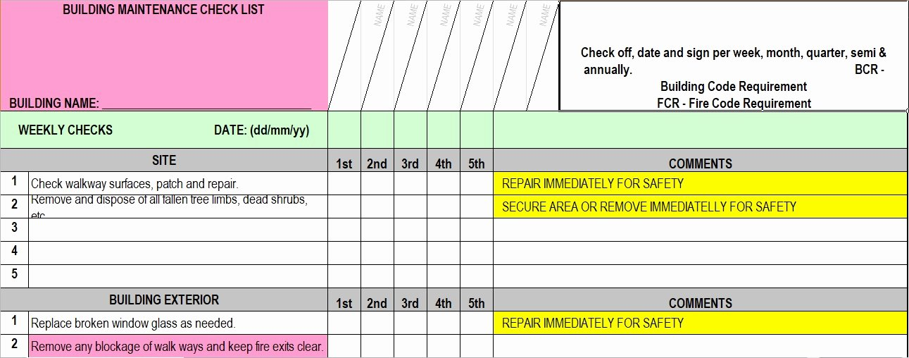 Building Maintenance Schedule Template Best Of Facility Maintenance Checklist Template format Word and