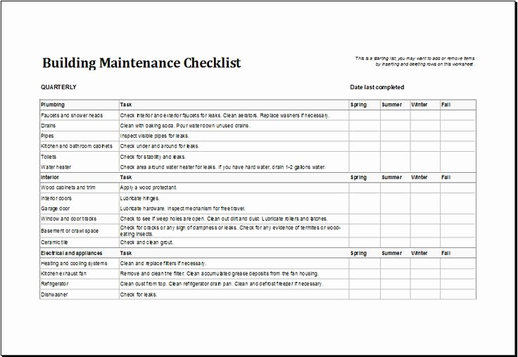 Building Maintenance Schedule Template Fresh Building Maintenance Checklist Download at