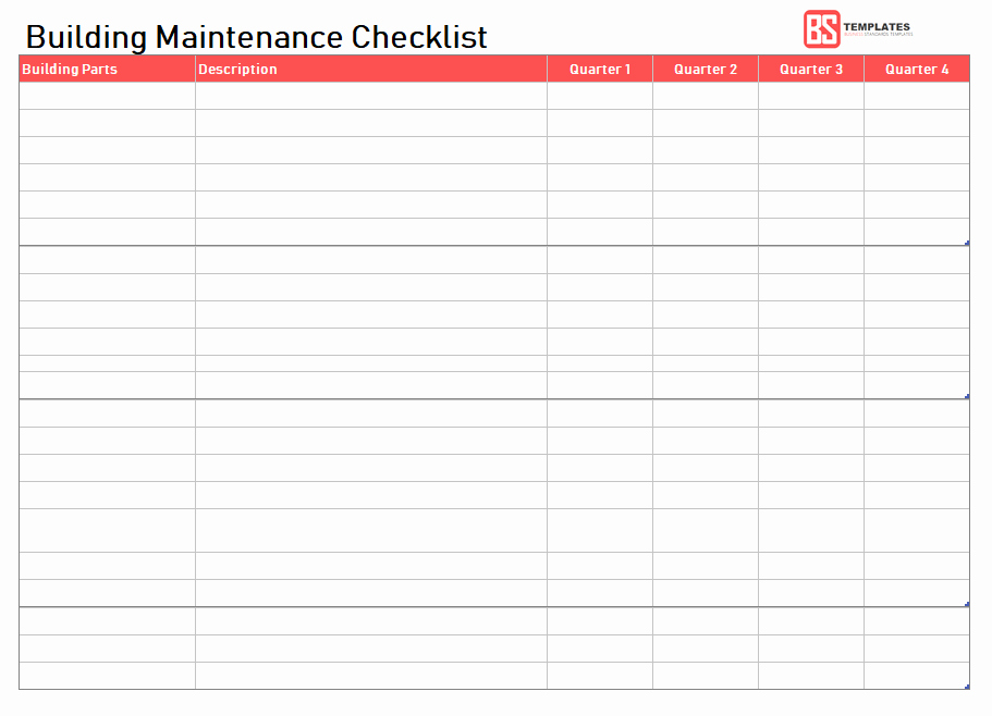 Building Maintenance Schedule Template Fresh Maintenance Checklist Template 10 Daily Weekly