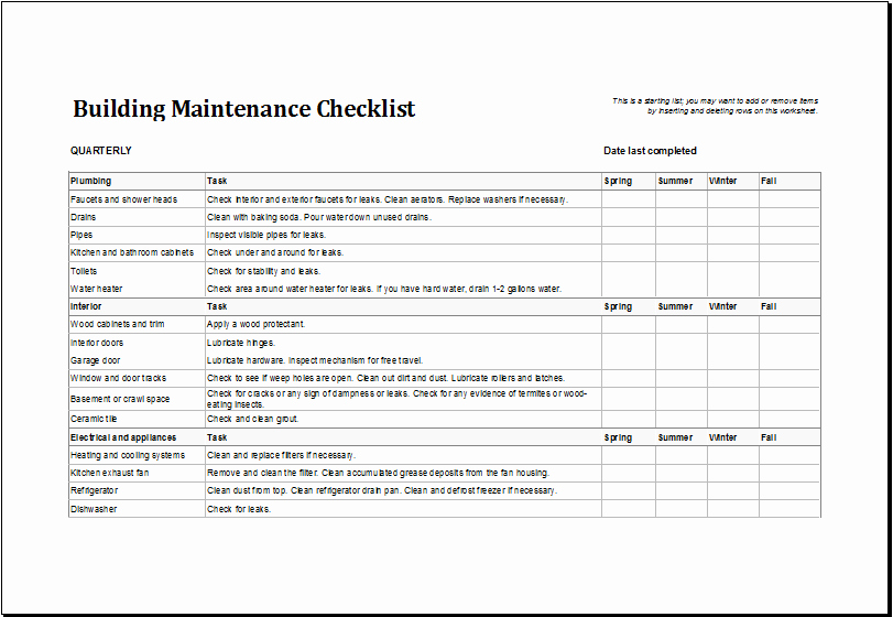 Building Maintenance Schedule Template Inspirational Building Maintenance Checklist Template
